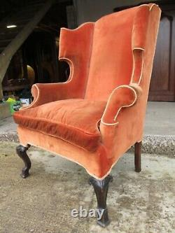 19th Century Wingback upholstered fireside Arm chair (ref 865)