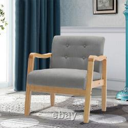1 Seater Armchair Sofa Wood Frame Linen Fabric Accent Chair Fireside Lounge Seat