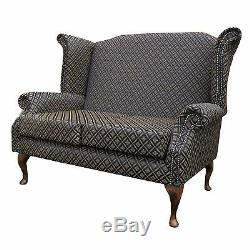 2 Seater High Back Sofa Black Fabric Wing Fireside Living Room Lounge Couch UK