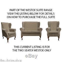 2 Seater High Back Sofa Oatmeal Fabric Wing Fireside Orthopaedic Lounge Couch UK