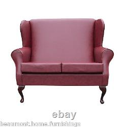 2 Seater High Back Sofa Red Leather Wing Fireside Living Room Lounge Couch UK