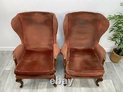 2 X Parker Knoll Pk 918 Wing Back Fireside Armchairs Original Upholstery G95#