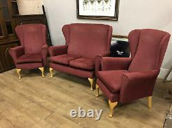 2seater sofa 2 Wingback fireside chairs On Queen Anne legs