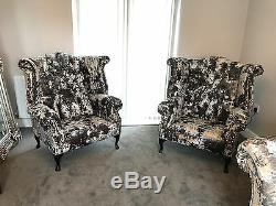 2x High Wing Back Armchairs Fireside Leather Pair Chairs Easy Queen Anne Legs UK