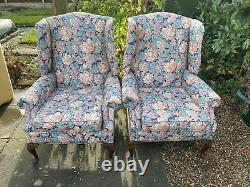4- Vintage Upholstered High Quality-wingback-fireside -chairs