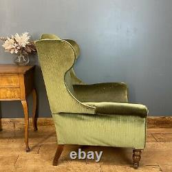Antique Edwardian Armchair / Wingback Upholstered Chair/ Old Fireside Armchair