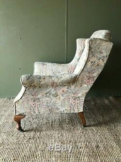 Antique Edwardian Country House Wingbacked Wingback Armchair Fireside Chair