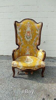 Antique Italian Carved Walnut Louis XV style High Back Fireside Wing chair