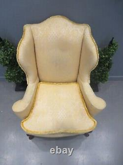 Antique Wing Back Library Chair Fireside Chair Ladies Chair Serpentine Shape