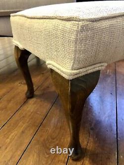 Antique Wingback Armchair And Footstool Fireside Chair Cream Fabric courier