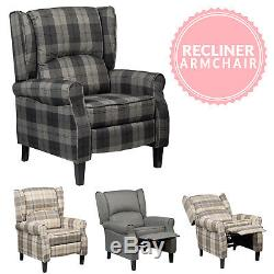 Anton Wing Back Fireside Check Fabric Recliner Armchair Home Lounge Sofa Chair