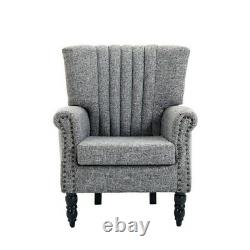 Armchair Fabric Linen Accent Upholstered Wing Back Fireside Chair With Wood Legs