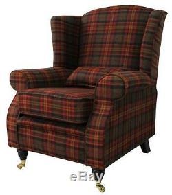 Arnold Fireside High Back Wing Armchair Sandringham Mandarin Check Tweed Wool