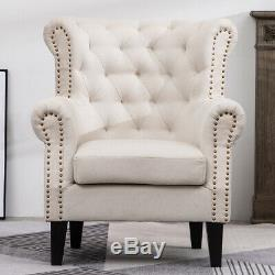 Artisdeo Wing Chair Fireside High Back Armchair Natural Beige Cream Button Studs