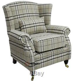 Ashley Fireside High Back Wing Armchair Balmoral Beige Check Fabric