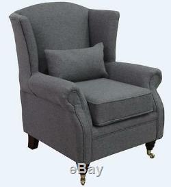 Ashley Fireside High Back Wing Armchair Jersey Dove Grey Fabric