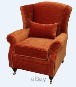 Ashley Fireside High Back Wing Armchair Pastiche Burnt Orange Velvet
