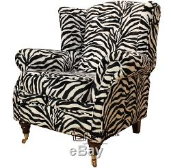 Ashley Fireside High Back Wing Chair Animal Print Zebra Velour Fabric
