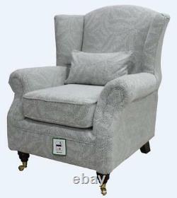 Ashley Wing Chair Fireside High Back Armchair Allegra Silver Grey Fabric