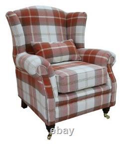 Ashley Wing Chair Fireside High Back Armchair Balmoral Burnt Orange Check PS