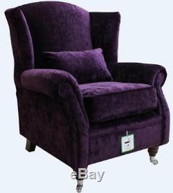 Ashley Wing Chair Fireside High Back Armchair Modena Aubergine Purple Velvet