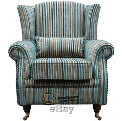 Ashley Wing Chair Fireside High Back Armchair Riga Aqua Stripe