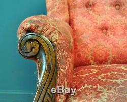 Attractive Antique Victorian Wing Back Fireside Armchair Chair For Reupholstery