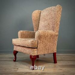 Attractive Pair Of Small Upholstered Beige Wing Back Fireside Armchairs & Stool