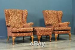 Attractive Pair Of Two 2 Parker Knoll Fireside Wingback Armchairs And Foot Stool