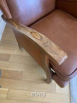 Beautiful Tan Leather Wing ArmChair Fireside Comfy