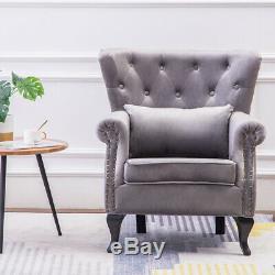 Bedroom Soft Velvet Tub Sofa Chesterfield Wing Chair Armchair Fireside Lounge Uk