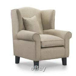 Beige Wingback Armchair Chenille Fabric Chair Fireside Living Room FREE Cushion