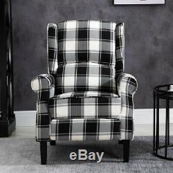 Black Check Recliner Armchair Wing Back Fireside Check Fabric Sofa Lounge Chair