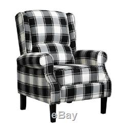 Black Check Recliner Lounge Chair Armchair Sofa Wing Back Fabric Fireside Home