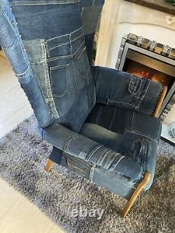 Blue Fireside Seat Denim Wing Back Chair Modern On Trend Chair Lounge Seat