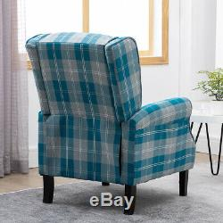 Blue Wing Back Fireside Check Fabric Recliner Armchair Sofa Lounge Cinema Chair