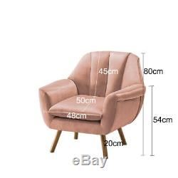 Blush Pink Velvet Fabric Armchair Sofa Shell Back Chair Fireside Wing Back Chair