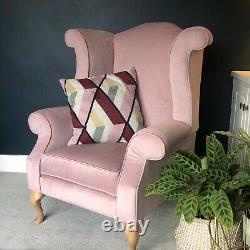 Blush Pink Velvet Wingback Fireside Queen Anne Armchair with Oak Legs