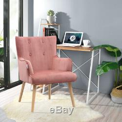 Blush Pink Wing Back Button Tub Occasional Chair Armchair Fireside Bedroom Sofa