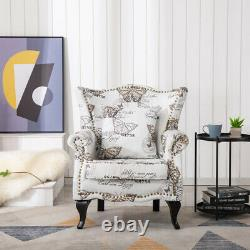 Butterfly Printed Sofa Wingback Chair Fireside Armchair with Dark Legs UK