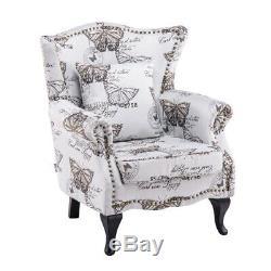 Butterfly Velvet Chesterfield Queen Anne Armchair High Wingback Fireside Chair