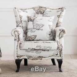 Butterfly Wingback Fireside Chesterfield Armchair Occasional Home Fabric Chair
