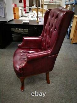 CHESTERFIELD Style Oxblood Leather Winged Fireside Armchair CS G26
