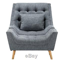 Chenille Fabric Sofa Fireside Armchair Upholstered Egg Chair with Footstool Lounge