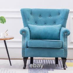 Chenille Fabric Wingback Button Accent Armchair Relaxing Chairs TV Fireside Sofa