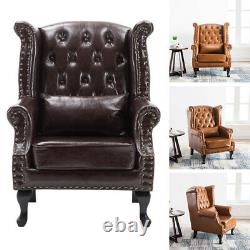 Chesterfield Armchair High Back Button Tufted Fireside Wing Chair PU Leather UK