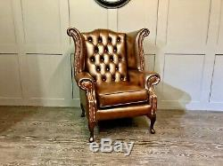 Chesterfield Armchair High Wing Back Fireside Brown Leather Chair Queen Anne