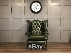 Chesterfield Armchair High Wing Back Fireside Green Leather Chair Queen Anne Leg