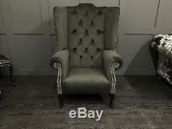 Chesterfield Armchair High Wing Back Fireside Handmade Chair Easy Queen Anne Leg