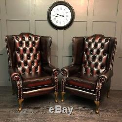 Chesterfield Armchair High Wing Back Fireside Red Leather Chair Queen Anne
